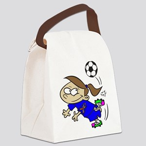 SOCCER GIRL TOON BLUE AUTISM RIBBON Canvas Lunch B