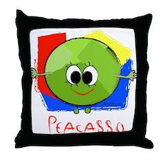 Peacasso Throw Pillow