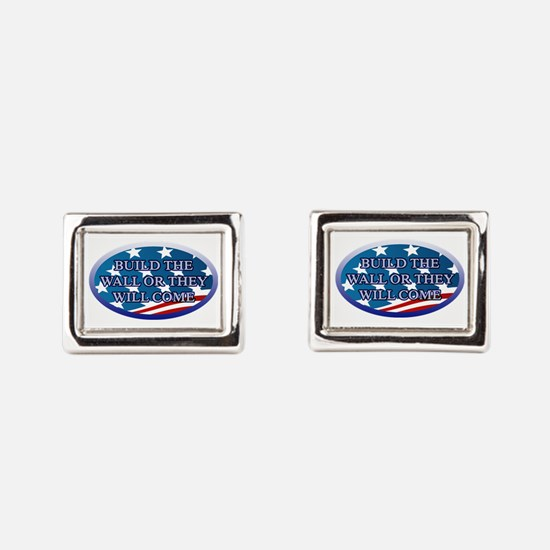 BUILD THE WALL OR THEY WILL Rectangular Cufflinks