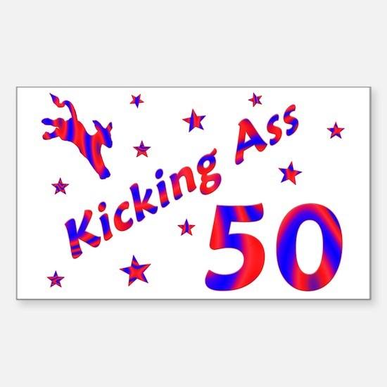 Kicking Ass 50 Rectangle Decal