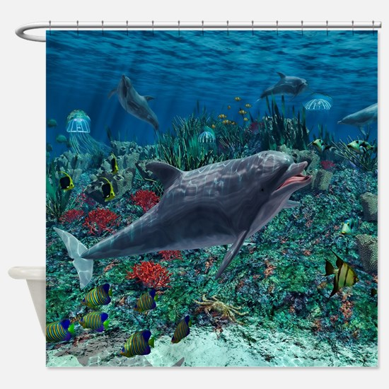 Dolphins play in the reef Shower Curtain