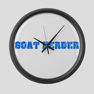 Goat Herder Blue Bold Design Large Wall Clock