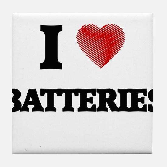I Love BATTERIES Tile Coaster