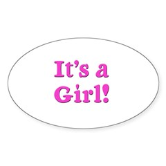 It's A Girl! Oval Decal
