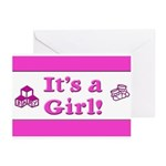 It's A Girl! Greeting Cards (Pk of 20)