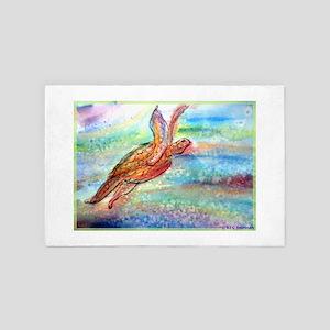 Sea Turtle! Wildlife art! 4' x 6' Rug