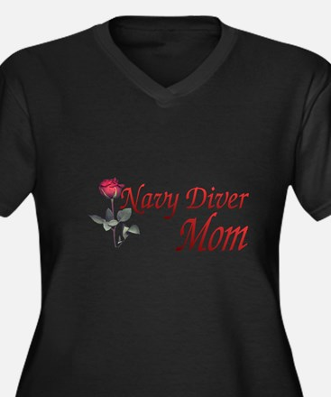 navy diver mom Women's Plus Size V-Neck Dark T-Shi