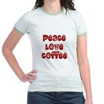 Peace Love Coffee Jr. Ringer T-Shirt