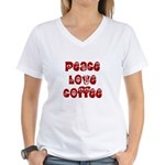 Peace Love Coffee Women's V-Neck T-Shirt