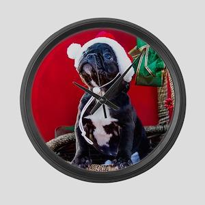 Black French Bulldog Puppy Wearin Large Wall Clock
