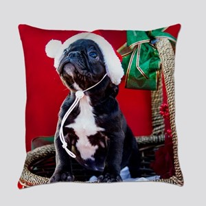 Black French Bulldog Puppy Wearing Everyday Pillow