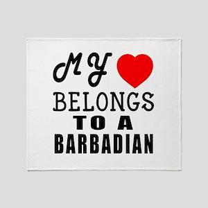 I Love Barbadian Throw Blanket