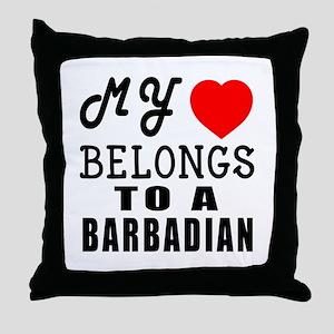 I Love Barbadian Throw Pillow