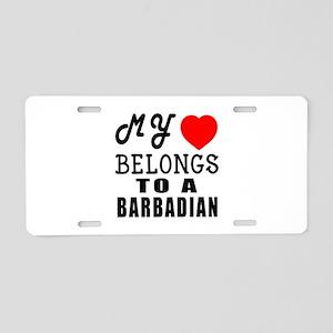 I Love Barbadian Aluminum License Plate