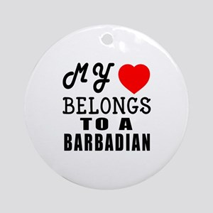 I Love Barbadian Round Ornament