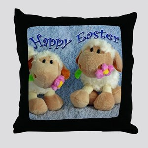 Happy Easter Lambs Throw Pillow
