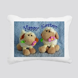 Happy Easter Lambs Rectangular Canvas Pillow