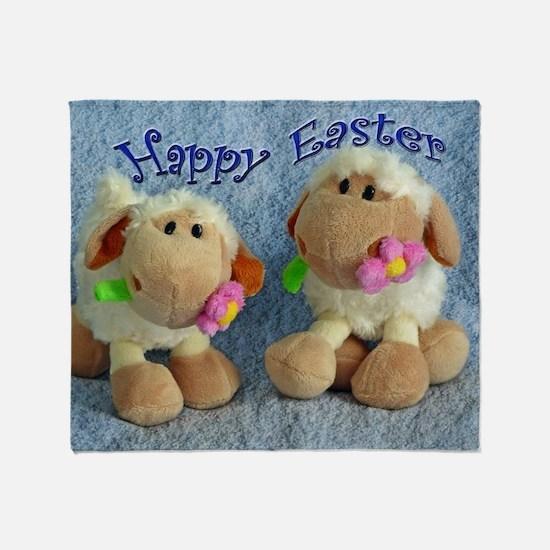 Happy Easter Lambs Throw Blanket