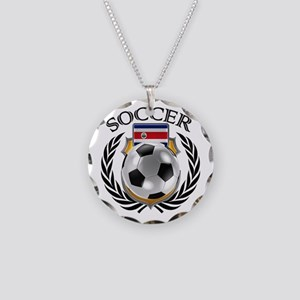 Costa Rica Soccer Fan Necklace Circle Charm
