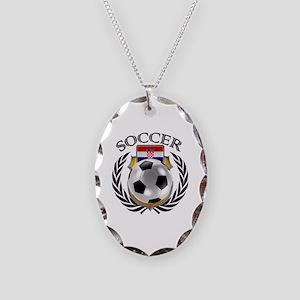 Croatia Soccer Fan Necklace Oval Charm