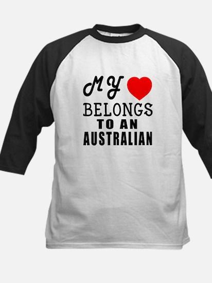 I Love Australian Kids Baseball Jersey