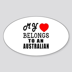 I Love Australian Sticker (Oval)