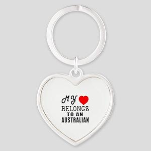 I Love Australian Heart Keychain