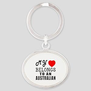 I Love Australian Oval Keychain