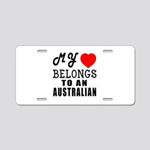 I Love Australian Aluminum License Plate