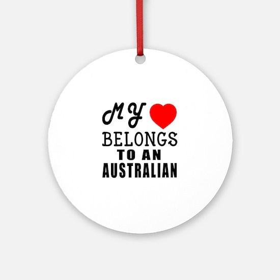 I Love Australian Round Ornament