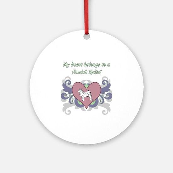 My heart belongs...Finnish Spitz Round Ornament