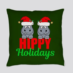 Hippo Holidays Everyday Pillow