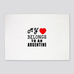 I Love Argentine 5'x7'Area Rug
