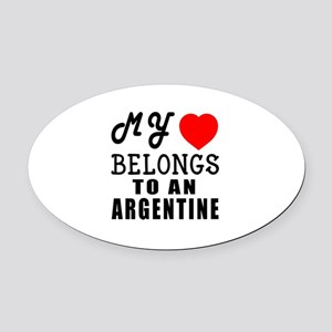 I Love Argentine Oval Car Magnet