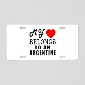 I Love Argentine Aluminum License Plate