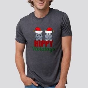 Hippo Holidays Mens Tri-blend T-Shirt