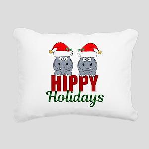 Hippo Holidays Rectangular Canvas Pillow
