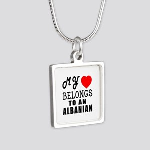 I Love Albanian Silver Square Necklace