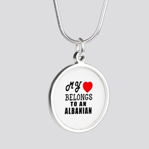 I Love Albanian Silver Round Necklace