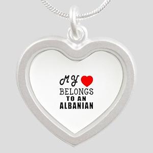 I Love Albanian Silver Heart Necklace