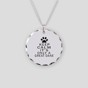 Great Dane Keep Calm Designs Necklace Circle Charm