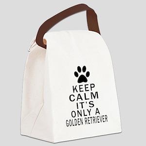 Golden Retriever Keep Calm Design Canvas Lunch Bag