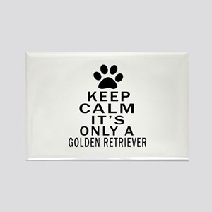 Golden Retriever Keep Calm Design Rectangle Magnet