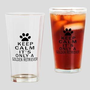 Golden Retriever Keep Calm Designs Drinking Glass