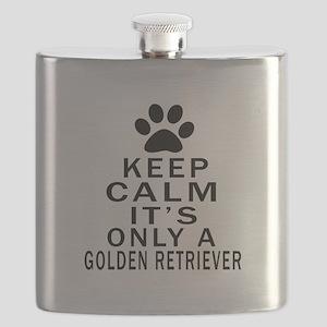 Golden Retriever Keep Calm Designs Flask