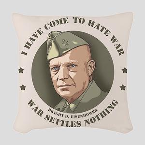 Eisenhower -War Woven Throw Pillow