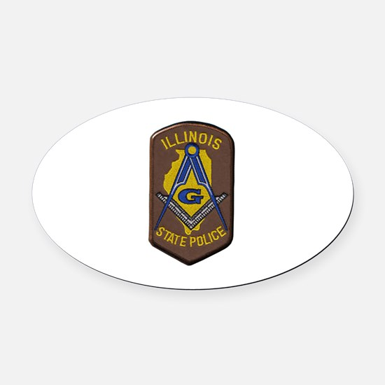 Illinois State Police Freemason Oval Car Magnet