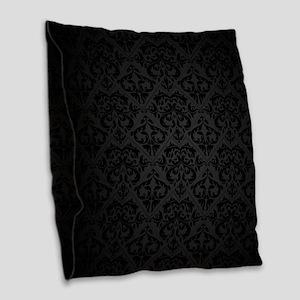 Elegant Black Burlap Throw Pillow