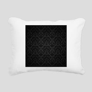 Elegant Black Rectangular Canvas Pillow