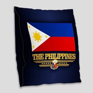 The Philippines Burlap Throw Pillow
